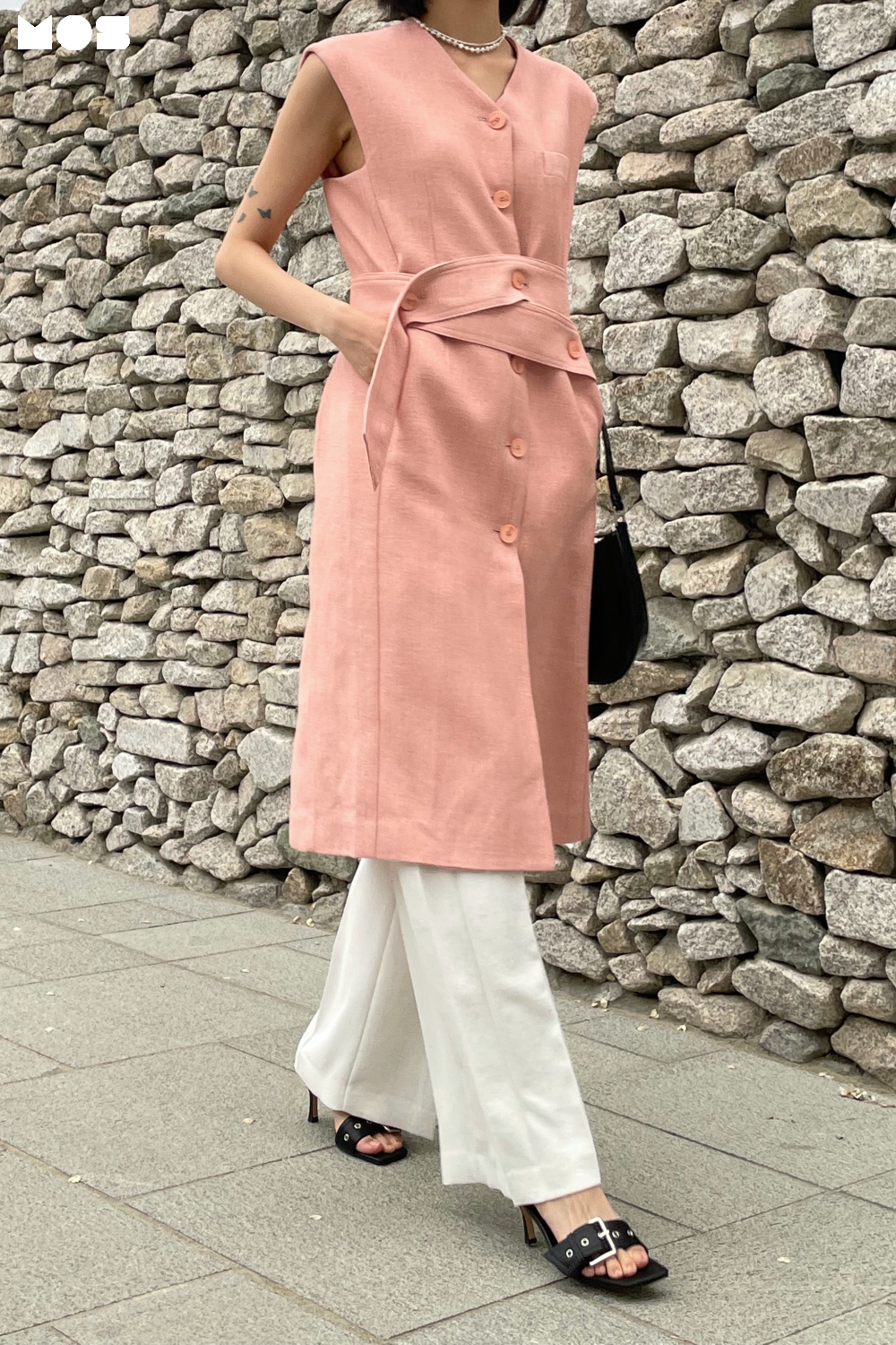 LINEN SLEEVELESS LONG JACKET